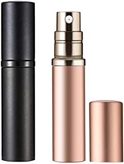 Yeejok Refillable Perfume Bottle Atomizer for Travel, Portable Easy Refillable 5ml Perfume Spray Pump Bottle for Men and Women - Black and Rose Gold