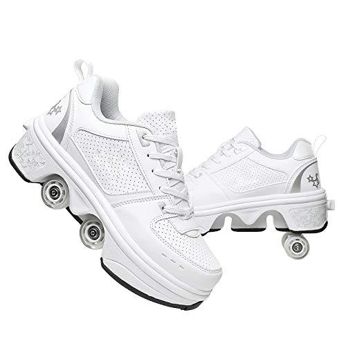 ZZX Zapatos Ruedas Chicas Boys Zapatos Ruedas Kids Quad Roller Skates Shoes 2 En 1 Parkour Zapatos/Rodillos Al Aire Libre, Regalo para Principiantes,White-34