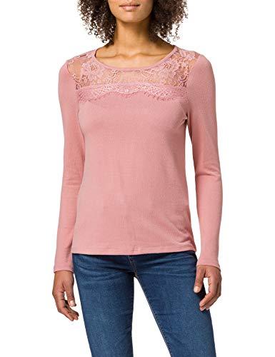 Springfield Camiseta Lace Escote, Rosa, S para Mujer