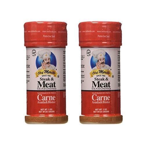 Chef Merito Steak & Meat Seasoning Powder Carne Asada & Bistec 3 oz, Pack of 2 | Chicken Nuggets, Thighs, Steak Seasoning, Grilled, Meat Seasoning