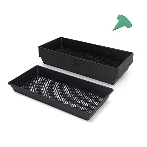GROWNEER 12 Packs 21 x 10.4 x 2.4 Inches Mesh Bottom Seedling Trays Seed Starter Trays with 15 Pcs Plant Labels for Flowers, Vegetables, Beans, Microgreens, Soil Blocks, Wheatgrass, Hydroponics