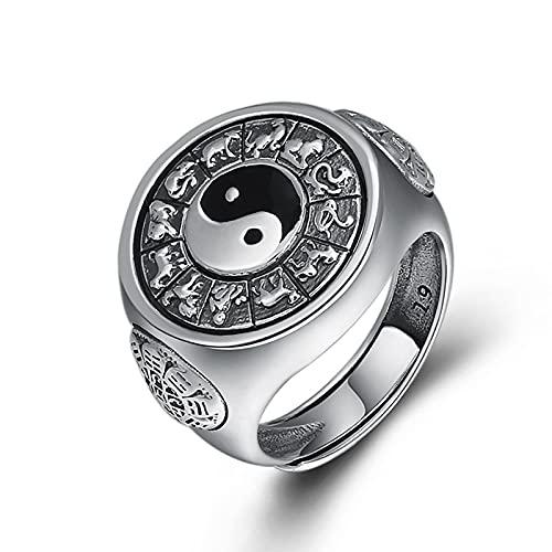 ZiFei S925 Anillos Giratorios Yinyang de Plata Esterlina para Hombres Anillo de Plata Tailandés Bagua Grabado Giratorio Feishui Lucky Jewelry,Plata