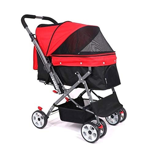 4 Wheeler Jogger Pet Stroller Folding Portable Travel Cat Dog Stroller Easy To Walk Folding Travel Carrier Loading 30kg (Color : Red)