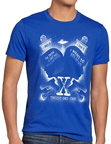 style3 X-Agents Herren T-Shirt FBI Alien UFO, Größe:5XL, Farbe:Blau