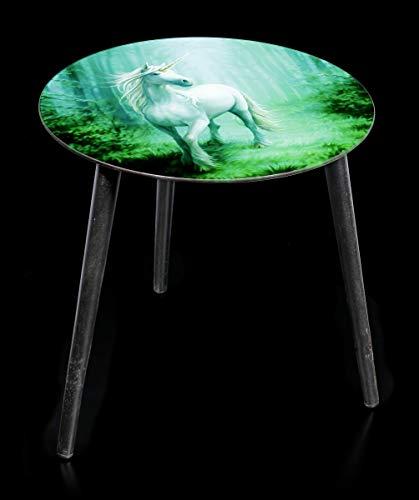 Unbekannt Mesa auxiliar con diseño de unicornio – Forest Unicorn   mesa de fantasía, tablero de cristal de 40 cm de diámetro