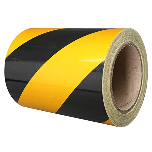 Yellow/Black Hazard Warning Tape, 15Cm25M Safety Tape Self Adhesive Barrier Tape Floor Marking Tape