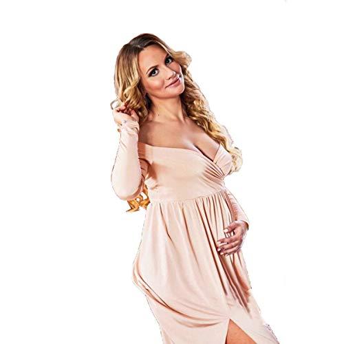 AYUSHOP Vestido de maternidad sesión de fotos, vestido de maternidad para mujer, con hombros descubiertos, media círculo, vestido de fotografía para baby shower