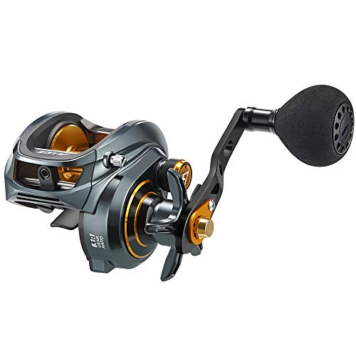 Piscifun Alijoz Baitcasting Reels Size 300 Low Profile Baitcaster Aluminum Frame Baitcast Fishing Reel, 33lb Drag 8.1:1 Gear Ratio Freshwater Saltwater Power Handle Casting Reels (Left Handed)