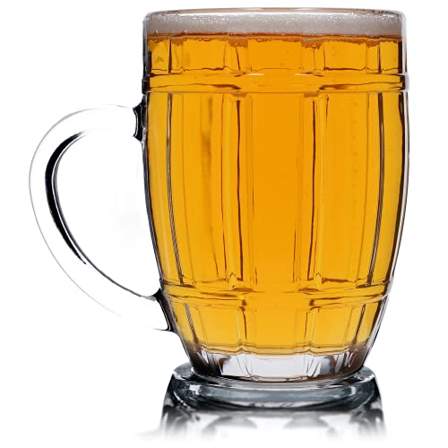 Chope à bière KADAX, verre à bière avec poignée confortable et fond épais, chope robuste pour bière, récipient à bière, adapté à la gastronomie, va au lave-vaisselle (Benno, 520 ml, 1)