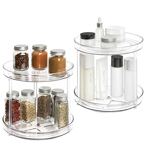 2 Tier Lazy Susan - 2 Pack Plastic Clear Spinning Organization & Storage Container Bin 9 Inch Round Turntable Condiments Spice Rack for Cabinet Pantry Countertop Kitchen Fridge Vanity Bathroom Makeup