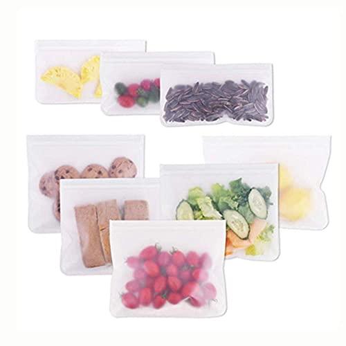 Candyeu 再利用可能なストレージバッグ ? 8 パック 漏れ防止 PEVAバッグ 冷凍バッグ ジップロックランチバッグ 食品保存 冷凍庫使用