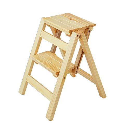 Taburete de Paso Escaleras Plegables Taburete Plegable de Madera para Adultos Cocina para niños Escaleras pequeñas Escalera multifunción/Escalera Escalera con 2 Pasos para la Biblioteca doméstica Es