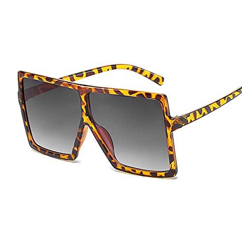 NJJX Gafas De Sol De Gran Tamaño Para Mujer, Gafas De Sol Cuadradas Negras De Moda Con Montura Grande, Gafas Retro Vintage Para Mujer, Unisex, Leopardo, Gris