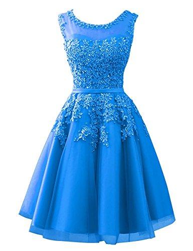 Carnivalprom Damen Abendkleider Mit Applikationen Elegant Ballkleid Brautjungfernkleider Kurz Partykleid(Meerblau,42)