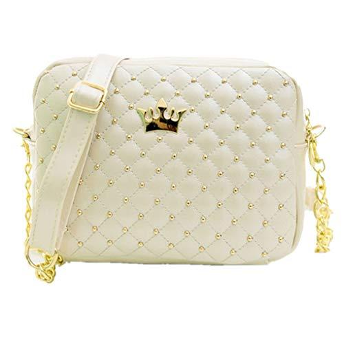 Dorical Damen Handtasche Damen Kette Umhängetasche mit Niet Schultertasche Tragetasche Elegant Taschen Handtaschen/Crossbody Schultertasche Leichte Stylische Tote Bag für Frauen(B)