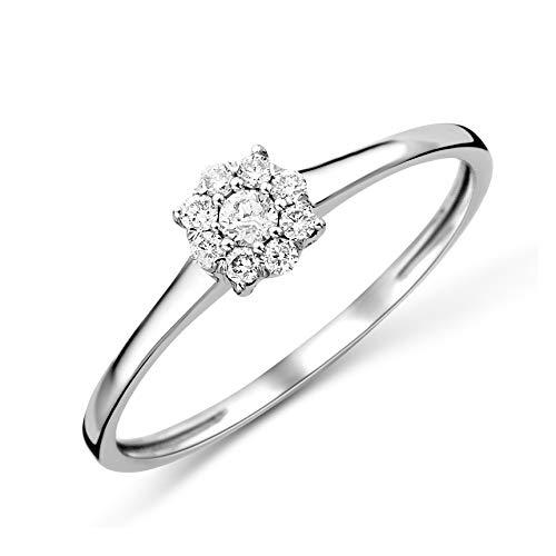 Miore Ring Damen Diamant Verlobungsring Weißgold 9 Karat / 375 Gold Diamanten Brillanten 0.13 Ct, Schmuck