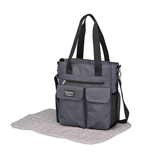 Pirulos 47631930 - Bolso, diseño denim, 30 x 34 x 10 cm, color gris