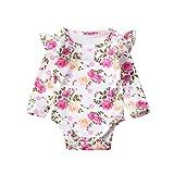 TOOKEN Lindo Infantil recién Nacido niño Infantil niños bebé niña Floral Mameluco Volantes Mono Trajes Ropa 0-18m