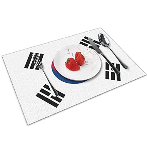 N\A Tischsets mit koreanischer Flagge 4er-Set für waschbare rutschfeste Tischsets mit dekorativem Tischset für den Esstisch