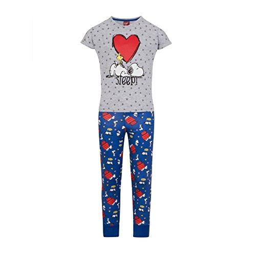Peanuts - Mädchen Schlafanzug mit Snoopy-Motiv - Offizielles Merchandise - Geschenk - 7-8Jahre