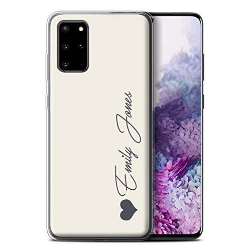 Stuff4 Personalisiert Persönlich Pastell Töne Gel/TPU Hülle für Samsung Galaxy S20 Plus/Elfenbein Herz Design/Initiale/Name/Text Schutzhülle/Hülle/Etui