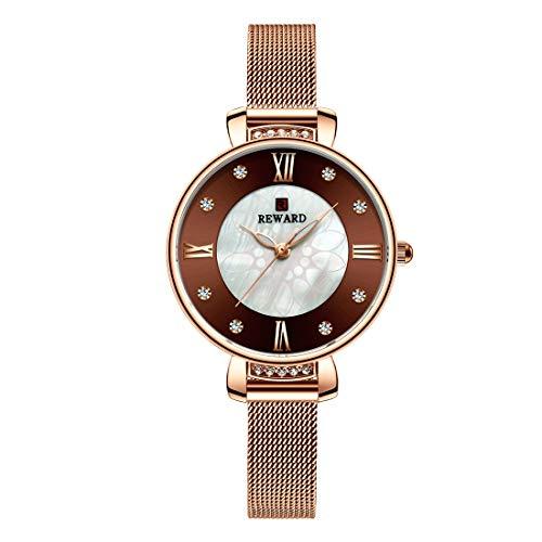 Allskid Damen Uhren Exquisit Strass Schale Wählen Rostfreier Stahl Mesh Uhrarmband Mädchen Quarz Armbanduhren (33mm, Kaffee)