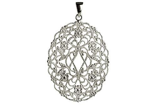 SILBERMOOS Damen Anhänger Blüte Blume Ornament Filigran-Schmuck glänzend Sterling Silber 925