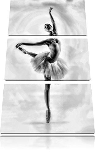 esthetische BallerinaFoto Canvas 3 deel | Maat: 120x80 cm | Wanddecoraties | Kunstdruk | Volledig gemonteerd