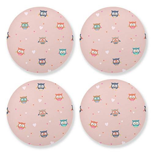 xigua 4 posavasos redondos para bebidas, resistentes al calor, con base de corcho, ligeros para mesa, tapete de protección para tazas, búhos rosados