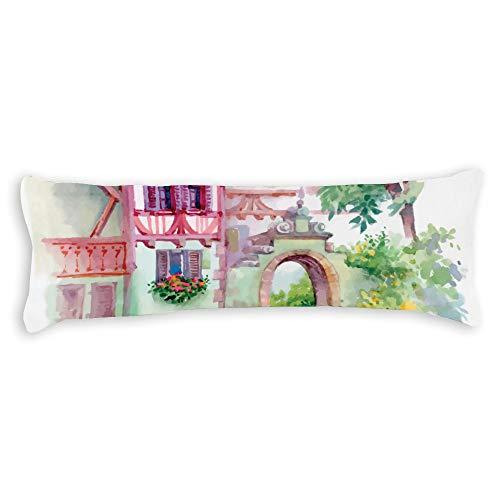Fhdang Decor Aquarelle Body Pillow Case Coton Doux Lavable en Machine avec Fermeture éclair Maternité Grossesse, Coton, Single 3ft (36'')