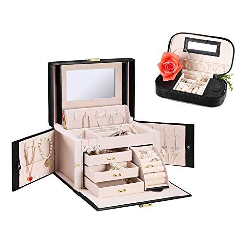 DGHJK Caja de joyería Organizador Caja de joyería Anillo Pendiente Caja de Almacenamiento Conjunto Maleta (Color: Negro, Tamaño: 25.518.517.5cm)