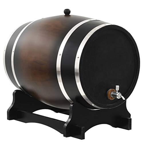 Festnight Barril de Vino de Estilo Antiguo con Grifo Madera de Pino Maciza 35 L 48 x 31 x 38 cm Negro Parduzco