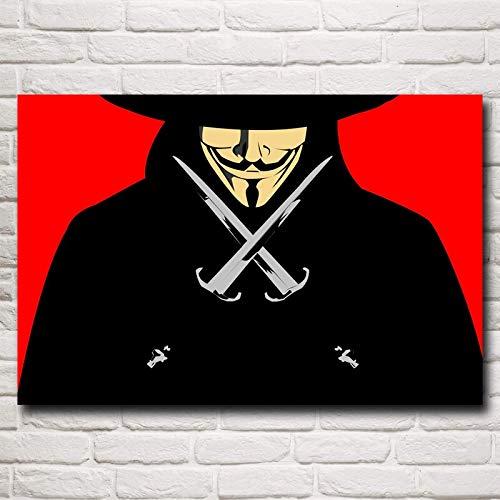 baodanla Sin Marco Película V para Vendetta Máscara Arte Impresión de Seda Cartel de la Pared Cuadros Decorativos Pulgadas Shi40x60cm