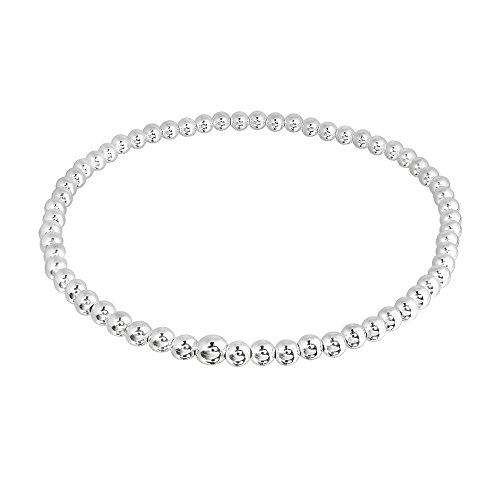 Simple Round 3mm Beads .925 Sterling Silver Stretch Bracelet