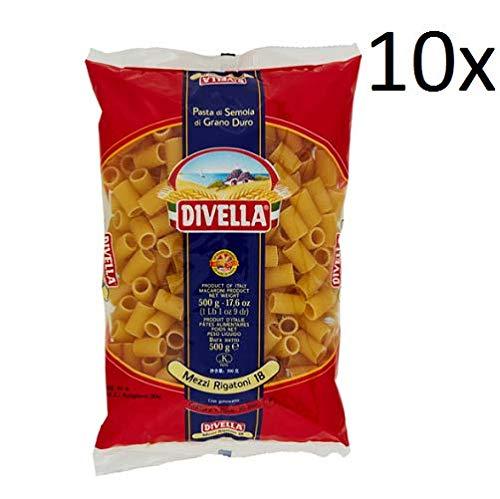 10x Pasta Divella 100% Italienisch N°18 mezzi Rigatoni 500g