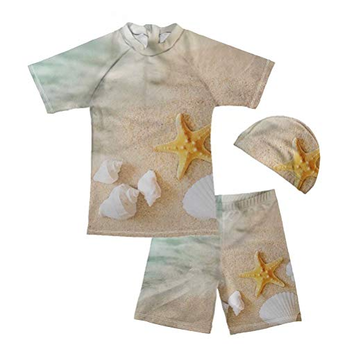 FOR U DESIGNS Baby Toddler Boys Two Pieces Swimsuit Set Swimwear Starfish Print Bathing Suit Rash Guards with Hat 11-12 Years