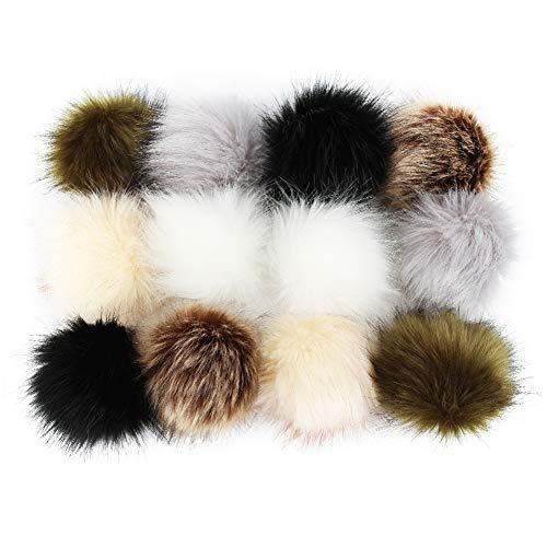 Bälle aus Kunstfell, für Hüte, Mützen, Schuhe, Schals, Taschen, 10 cm, Fuchspelz, 12 Packungen (wie in Abbildung 6 Farben, 2 pro Farbe)
