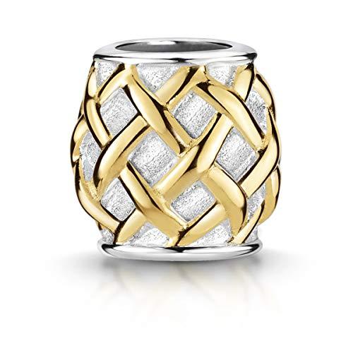 MATERIA by Matthias Wagner Beads Charms 694 - Colgante de plata de ley 925, diseño de rejilla dorada