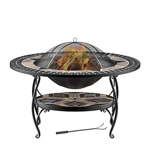 Mecor 3-in-1 Outdoor Fire Pit with Cooking Grate, 32' Mosaic Fire Pits Outdoor Wood Burning Steel BBQ Grill Firepit Bowl with Spark Screen Cover Log Grate Fire Poker for Backyard Bonfire Patio,Black