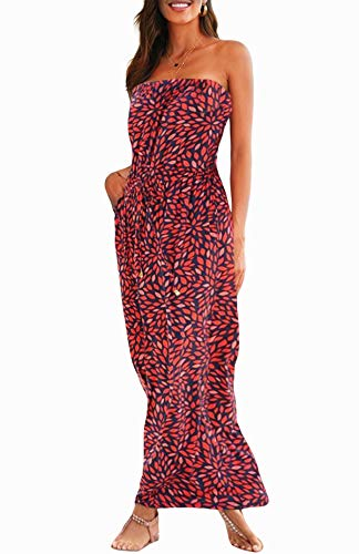 Happy Sailed Womens Summer Strapless Maxi Dress Pleated Casual Party Tribal Beachwear Dresses with Pockets Large Red