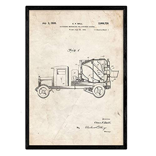 Nacnic Poster con patente de Camion hormigonera. Lámina con diseño de patente antigua en tamaño A3 y con fondo vintage