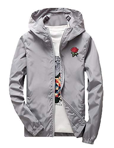 Rexcyril Men's Rose Floral Windbreaker Hooded Jacket Lightweight Solid Color Casual Full Zip Flower Coat Medium Grey