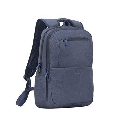 Rivacase Rucksack – wasserfester Rucksack mit Laptopfach (15,6 Zoll) und Tablet-Tasche (10,1 Zoll) – Dank Trolley-Gurt perfekt als Reiserucksack – Laptop Rucksack aus Polyeste (Blau)