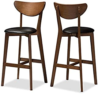 "Baxton Studio Eline 30"" Bar Stool in Black and Walnut Brown (Set of 2)"