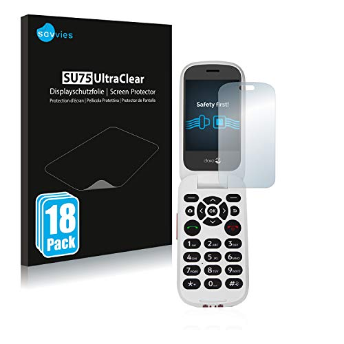 Savvies 18x Schutzfolie kompatibel mit Doro 7060 (Inneres Bildschirm) Bildschirmschutz-Folie Ultra-transparent