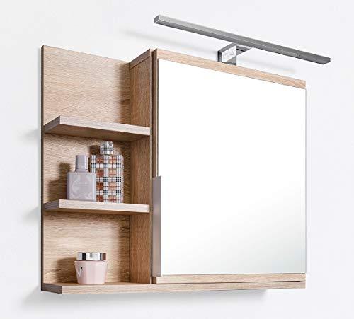 Espejo de baño con estantes y LED Iluminación, Cuarto de baño Espejo, Roble Sonoma Armario con Espejo, L