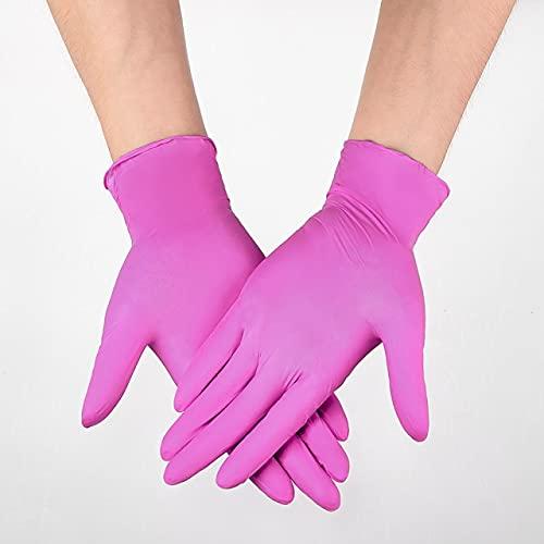 Guantes de nitrilo, color rosa, 100 piezas/caja, grado alimenticio, impermeables, sin alergias, desechables, guantes de seguridad