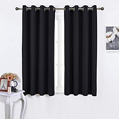 NICETOWN Black Out Curtains for Living Room - Easy Care Solid Thermal Insulated Grommet Blackout Panels/Drapes For Bedroom Window (2 Panels, 52 Inch Wide by 63 Inch Long)