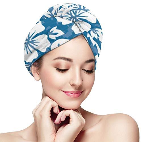 ZVEZVI Aloha Toalla para el Cabello de Microfibra Floral Hawaiana para Mujer, Turbante súper Absorbente de Secado rápido para secar el Cabello Rizado, Largo y Grueso