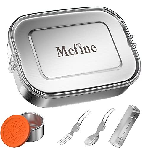 Premium Edelstahl Brotdose, Mefine 1400ml Brotdose Kinder Mit Fächern, Auslaufsicher Lunchbox Set mit Trennwand & Metalldose 110ml, Bento Box groß, Brotzeitbox BPA-frei Brotbox Eco Frühstücksbox